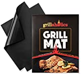Grillaholics Grill Mat - Set of 2 Non Stick BBQ Grilling Mats - Heavy Duty - Reusable - and Easy to Clean - Extended Warranty