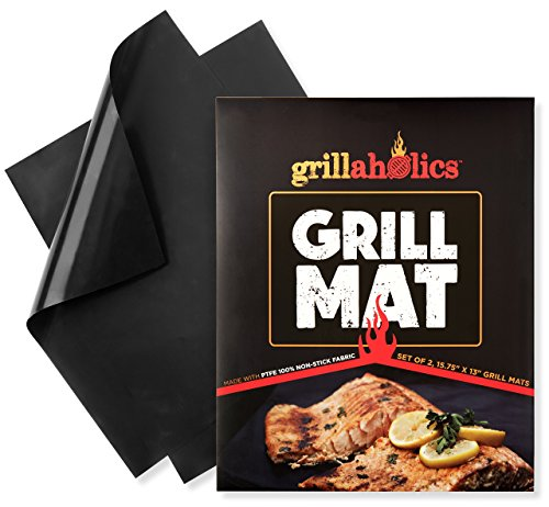 Grillaholics Grill Mat - Set of 2 Non Stick BBQ Grilling Mats - Heavy Duty, Reusable, and Easy to Clean - Extended Warranty