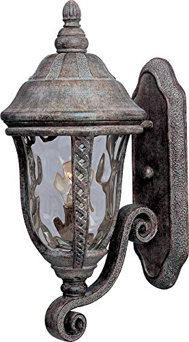 (Maxim 3106WGET Whittier Cast 1-Light Outdoor Wall Lantern, Earth Tone Finish, Water Glass Glass, MB Incandescent Incandescent Bulb , 40W Max., Dry Safety Rating, 2900K Color Temp, Standard Dimmable, Glass Shade Material, 6000 Rated Lumens)