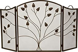 Bronze 3 Fold Arched Panel Screen with Leaf Design - 31 inch