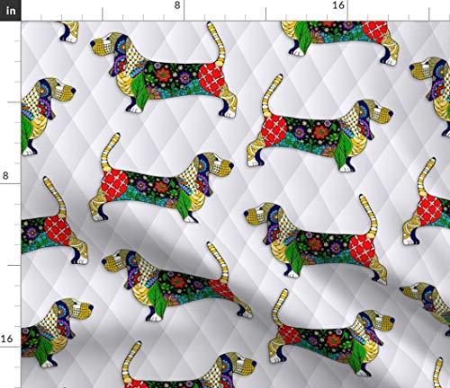 Basset Hound Fabric - Basset Hound Dog Pet Cartoon Floral by Pateisen Printed on Fleece Fabric by The - Basset Fleece Hound