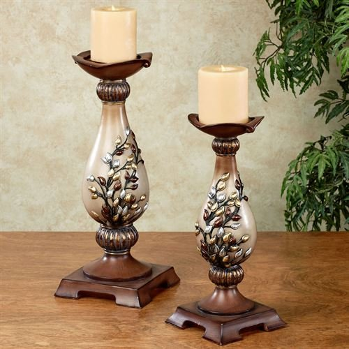Vine Candle Pewter Holder (Touch of Class Golden Sunrise Candleholder Set Multi Metallic Set of Two)