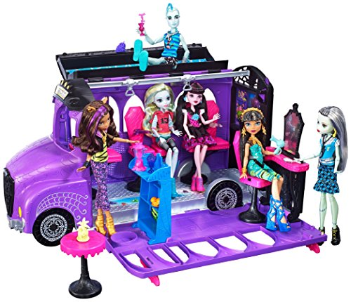 Mattel - Monster High - FCV63 - Deluxe Bus and Mobile Salon Toy Playset - Pedicure Station Pool - Fashion Doll -