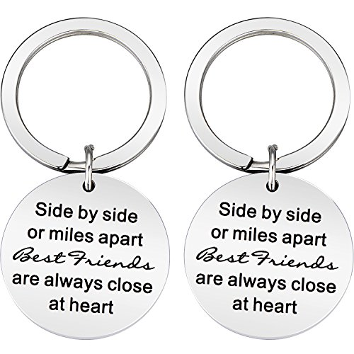 BBTO 2 Pieces Best Friend Stainless Steel Keychain Side by Side or Miles Apart Close at Heart Gifts Keychain for Women Teens Girls