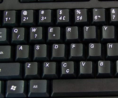 PORTUGUESE BRAZILIAN NON-TRANSPARENT KEYBOARD STICKERS ON BLACK BACKGROUND