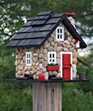 Home Bazaar Windy Ridge Bird Feeder, Stone/Red/Black