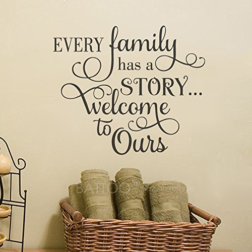 "BATTOO Every Family has a Story Welcome to Ours, Family Wall Decal Quotes Photo Gallery Wall Decal 40"" W 34"" H, Living Room Wall Decal Sticker, Black"
