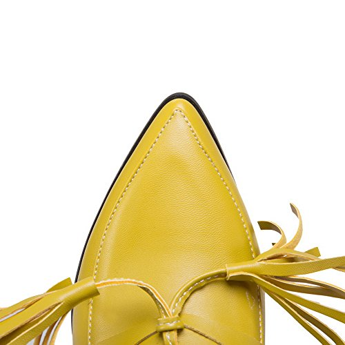 Pu Pointed Yellow Closed Toe Shoes Pumps Heels WeiPoot Solid Pull Kitten Women's On 0qxHUXw7