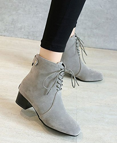Women's Boots Faux Up Suede SHOWHOW Gray Comfortable Lace Winter dFwqC