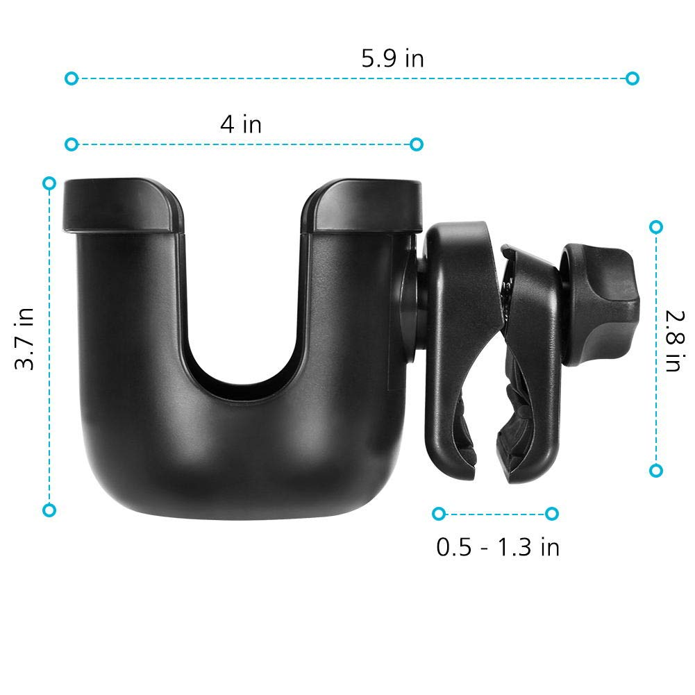 Accmor Universal Cup Holder, Stroller Cup Holder, Large Caliber Designed Cup Holder, Fit for bottle with handle, 360 Degrees Universal Rotation Cup Drink Holder for Baby Stroller, Pushchair Wheelchair by Accmor (Image #7)