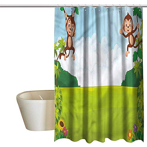 Denruny Shower Curtains Tattoo Nursery,Cute Monkeys on Vines,W36 x L72,Shower Curtain for -
