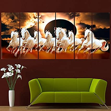 Ray Decor Sparkling Horses Wall Painting 48 X 24 Inches Multicolour