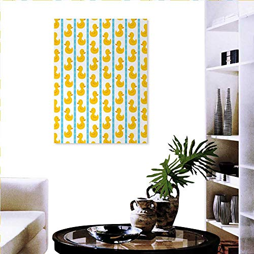 - Warm Family Rubber Duck Ready to Hang Home Decorations Wall Decor Yellow Duckies Blue Stripes Small Circles Baby Nursery Play Toys Pattern Art Stickers 20