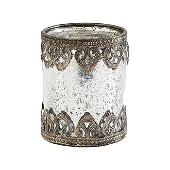 K&K Interiors Medium Mercury Glass with Metal Filigree Trim, Medium