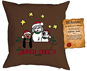 Christmas Navidad Cojín con relleno y gratis spassvogelurkunde: Jingle Bells–singvögel Perros con gorro de Papá Noel