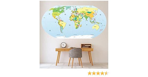 azutura Mapa del Mundo político Educativo Vinilos Disponible en 8 tamaños. Digital: Amazon.es: Hogar