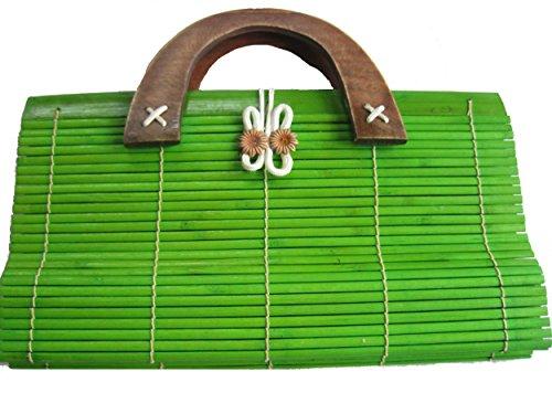 Tasche aus Bambus im japanischen Stil, Henkeltasche grün-olive