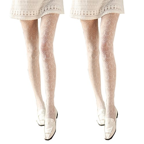 (2 Pairs Color Hollow Out Knitted Pantyhose Leggings Tights from Sept.Filles,White,One Size)