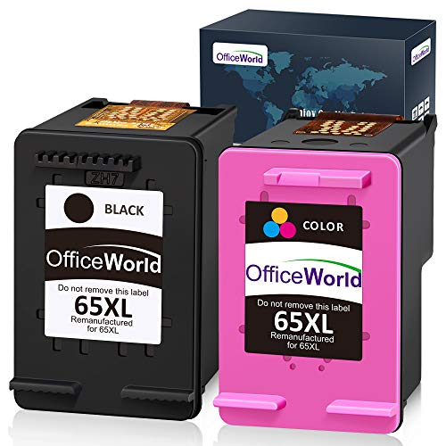 OfficeWorld Re-Manufactured Ink Cartridge Replacement for HP 65XL 65 XL Work with HP Envy 5055 5052 5058 DeskJet 3755 3752 2652 2655 2622 3720 3722 2624 3758 AMP 100 Printer (1 Black+1 Tri-Color)