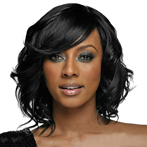 Birthday Gift!!! Jumberri Women Black Brazilian Short Wavy Curly Parting High Temperature Fiber Wig Hair (34cm) -