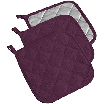 DII 100% Cotton, Terry Pot Holder Set Machine Washable, Heat Resistant, 7 x 7, Eggplant, 3 Piece