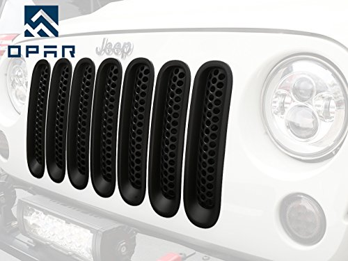 Opar Matte Black Clip In Front Grille Mesh Inserts For 2007 2015 Jeep Jk Wrangler   Wrangler Unlimited  Pack Of 7