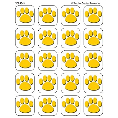 Teacher Created Resources Gold Paw Print Stickers (4543): Office Products