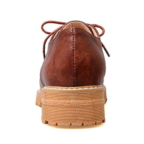 Square Platform BalaMasa Bandage Heels Urethane Shoes Oxfords Brown Womens 4n6qnxAv