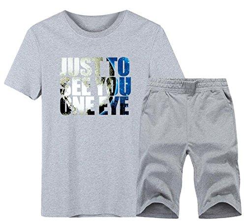 Hot Alion Men's Cotton Crew Neck Letter Print T-shirt Top + Loose Shorts Set