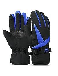 Vbiger Mens Ski Gloves Waterproof Winter Warm Gloves Motorcycling Gloves