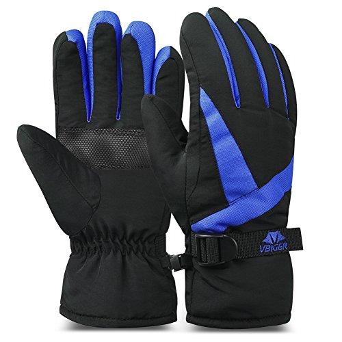 Vbiger Ski Gloves Snow Mittens Waterproof Winter Warm Cycling Gloves (M, Blue 3) (Skids Ski Gloves)