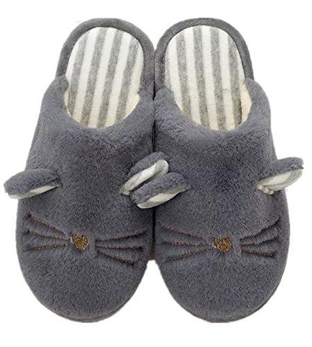Invierno Gruesas de de de cálido oscuro Zapatillas Peluche Zercia para Gris algodón Pareja HETcA