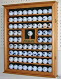 Golf Ball Display Case Wall Cabinet With Hole In One Plate Oak Finish