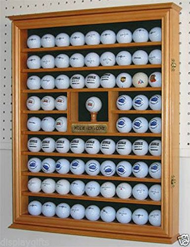 Golf Ball Display Case Wall Cabinet With Hole In One Plate Oak Finish by Display Case