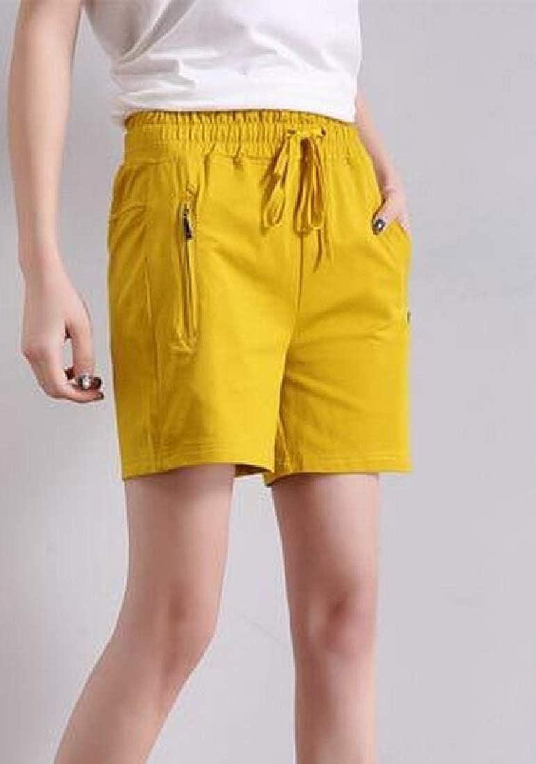 Cromoncent Women Casual Summer Elastic Waist Zipper-Pocket Beach Shorts