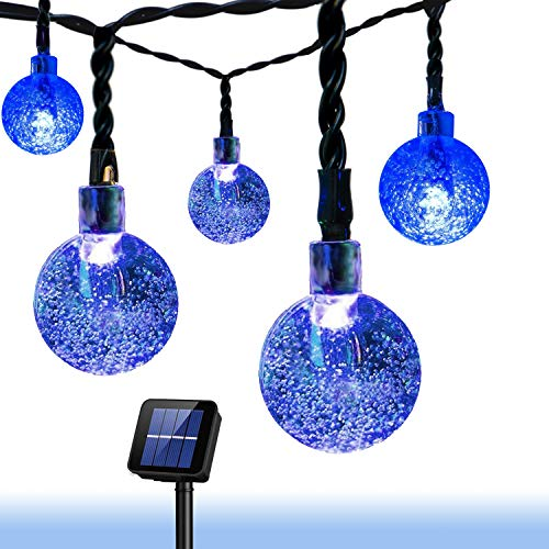 Christmas Solar String Light 20ft 30LED Fairy String Lights Bubble Crystal Ball Lights Decorative Lighting for Garland Garden Home Patio Lawn Party Holiday Ooutdoor Decor (Blue)