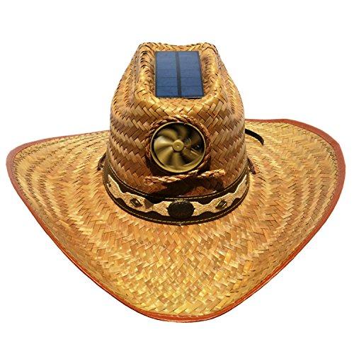 Cooling Sun Straw Solar Men's Palm Leaf Cowboy Hat w. Band (Solar Sun Hat)