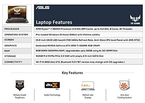ASUS TUF Gaming A15 FA506II-HN152T 15.6-inch FHD 144Hz Gaming Laptop (AMD Ryzen 7 4800H/8GB RAM/512GB NVMe SSD/Windows 10/4GB GDDR6 NVIDIA GeForce GTX 1650 Ti Graphics/2.30 Kg), Bonfire Black