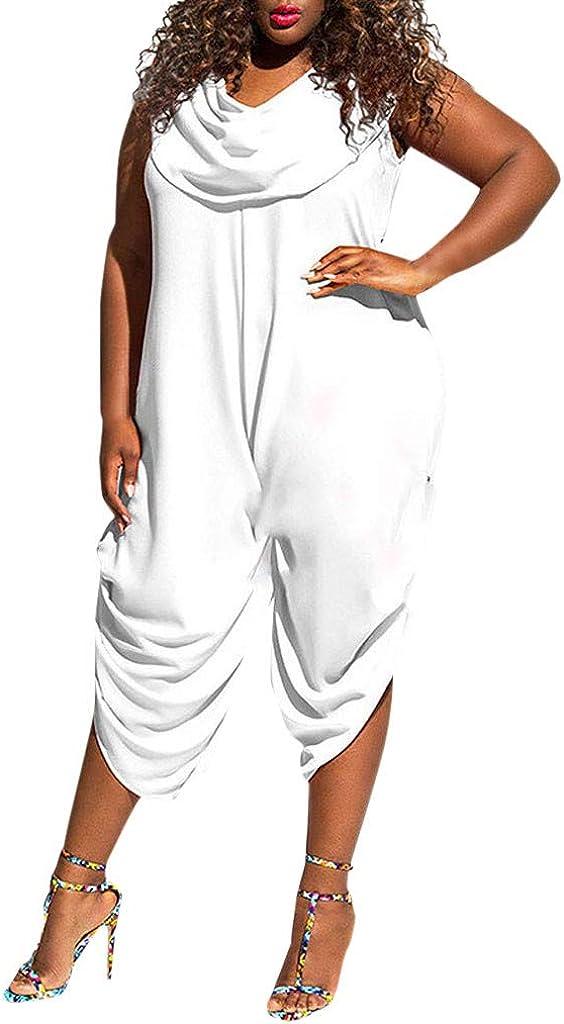 Farmerl 2019 Women Plus Size Jumpsuit Solid Color Bib Solid Color Pants Jumpsuit