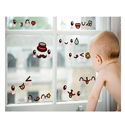 Iusun Funny Diy Adornment Expression Wall Stickers Laptop Glass Cabinet Refrigerator Home Decal - Expressions Cabinet