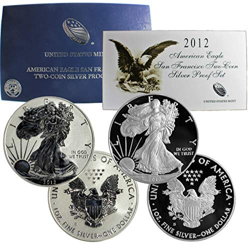 2012 S American Silver Eagle San Francisco Mint 75th Anniversary 2-Coin Set W/Box + COA -