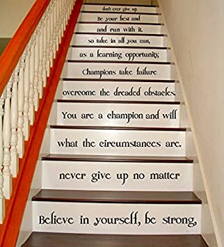 (27u0026quot; X 28u0026quot;) Vinyl Stairs Decal Quote Believe In Yourself, Be