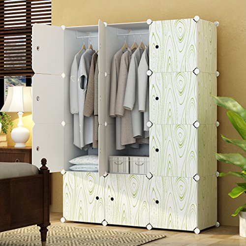 KOUSI Portable Clothes Closet Wardrobe Bedroom Armoire Storage Organizer with Doors, Capacious & Sturdy. 12 cube White/Wooden Print - Open Cube Storage System