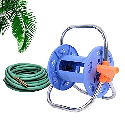Luerme Garden Hose Reel Stand with Wheels Water Pipe StorageRack Hose Reel Cart Wall/Floor Mounted Garden Hose Holder Bracket Garden Hose Reel Swivel Fitting Holds 100 Foot 1/2 inch Hose