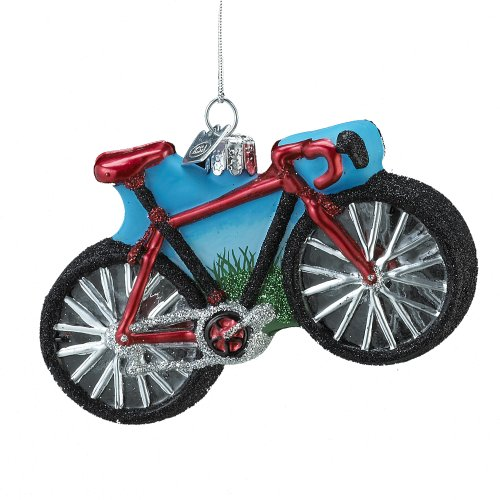 Noble Gems Kurt Adler Glass Bicycle Ornament, 4-Inch (Holiday Ornament Bicycle)