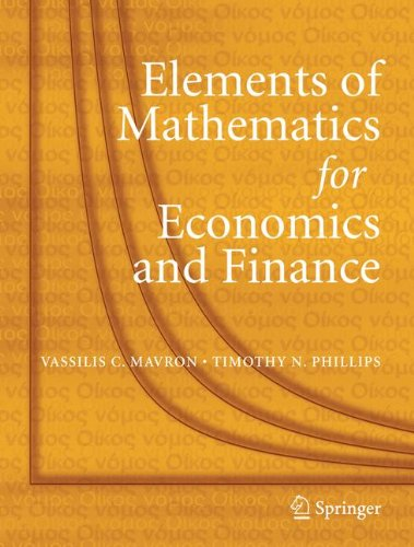 Download Elements of Mathematics for Economics and Finance ebook