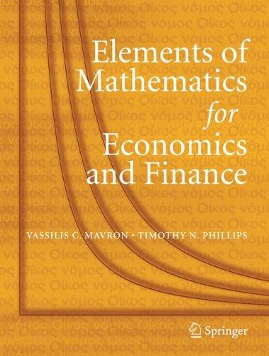 Download Elements of Mathematics for Economics and Finance PDF