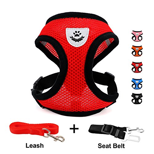 INVENHO DOGJOG Mesh Harness with Padded Vest for Puppy and Cats No Choke Design Ventilation Gift with One Leash & Seat Belt (XS,Red)