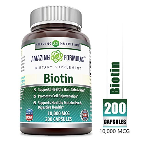 Amazing Formulas Supplement - 10,000mcg - 200 Capsules - Supports Healthy Hair, Skin & Nails - Promotes Cell Rejuvenation