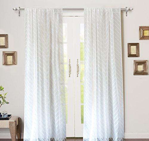 "DriftAway Hayden Chevron White Voile Sheer Window Curtains Set of Two Panels, Rod Pocket, Each 52""x84"" (Off White)"